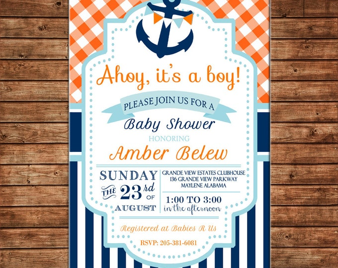 Boy Invitation Nautical Anchor Baby Shower Birthday Party - Can personalize colors /wording - Printable File or Printed Cards