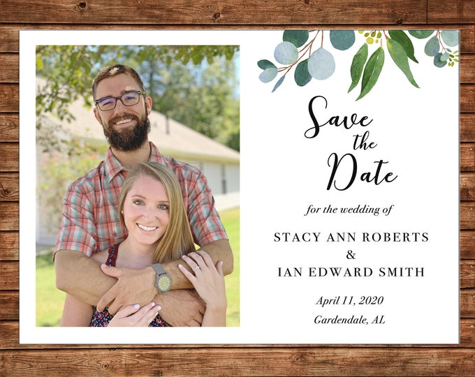 Wedding Invitation Save the Date Watercolor Greenery Bridal Shower  - Can personalize colors /wording - Printable File or Printed Cards