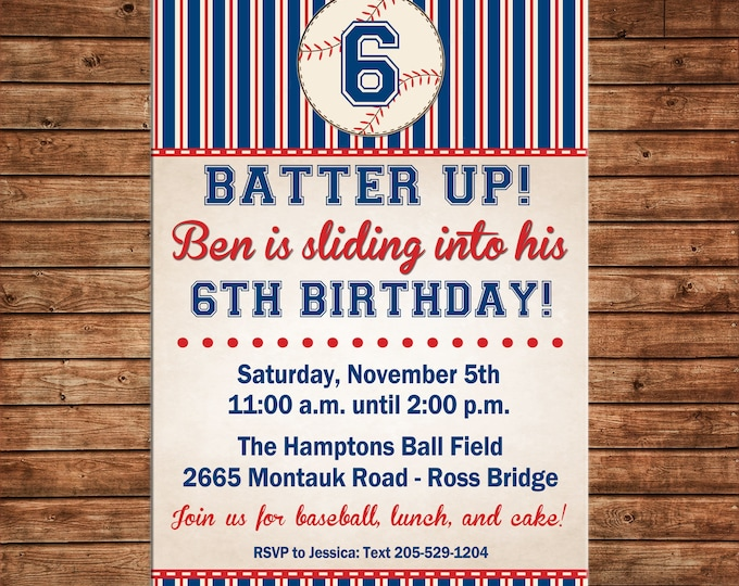 Boy Invitation Vintage Baseball Birthday Party - Can personalize colors /wording - Printable File or Printed Cards