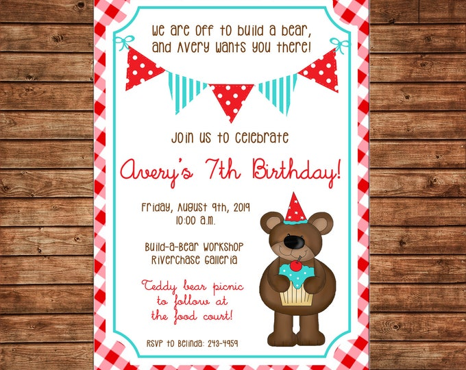 Boy or Girl Gingham Invitation Bear Teddy Birthday Party - Can personalize colors /wording - Printable File or Printed Cards