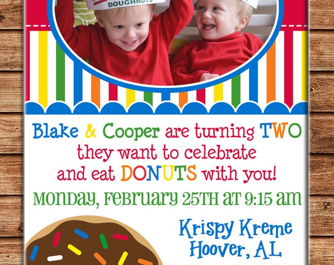 Boy or Girl Photo Invitation Donut Donuts Birthday Party - Can personalize colors /wording - Printable File or Printed Cards