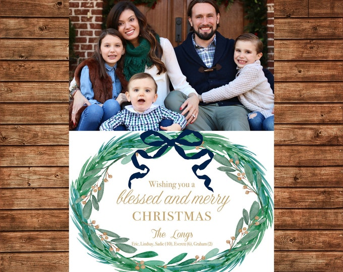 Christmas Holiday Photo Card Navy Green Watercolor Wreath - Can Personalize - Printable File