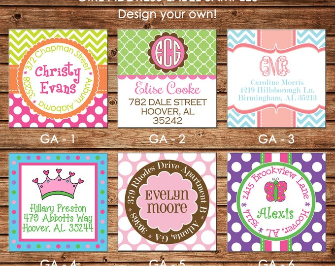 30 Square Return Address Labels Girl Personalized - Choose ONE DESIGN