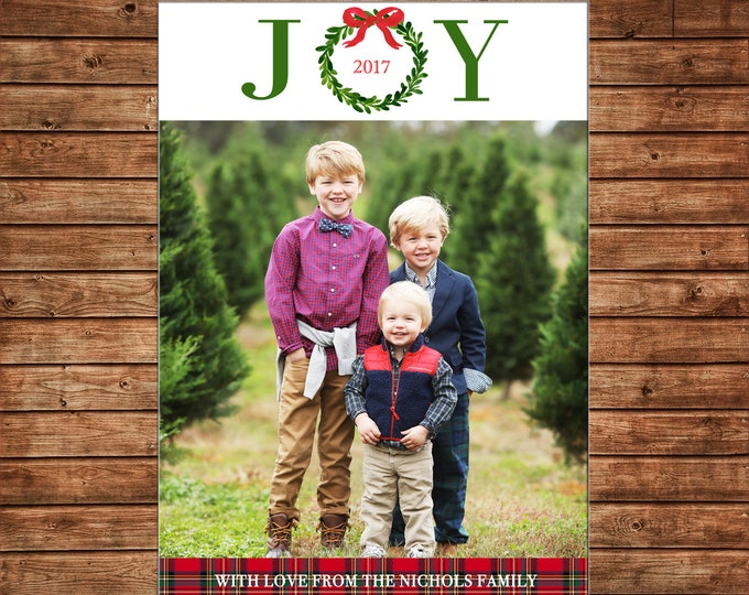 Christmas Holiday Photo Card JOY watercolor wreath bow tartan plaid  - Can Personalize - Printable File or Printed Cards