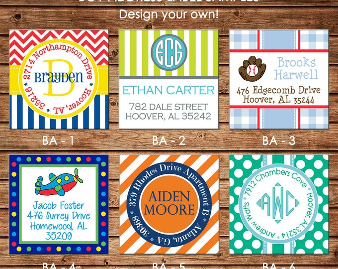 30 Square Return Address Labels Boy Personalized  - Choose ONE DESIGN