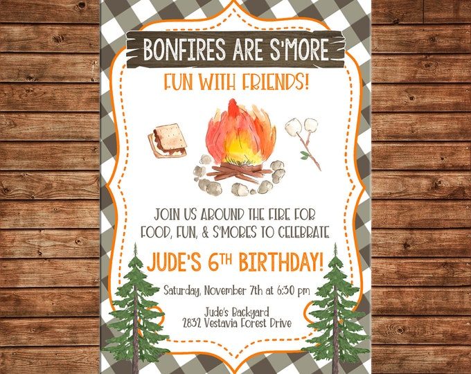 Smores Campfire Bonfire Camping Birthday Invitation  - Can personalize colors /wording - Printable File or Printed Cards