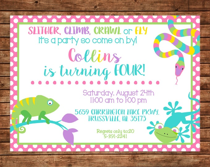 Girl Invitation Reptile Snake Lizard Birthday Party - Can personalize colors /wording - Printable File or Printed Cards