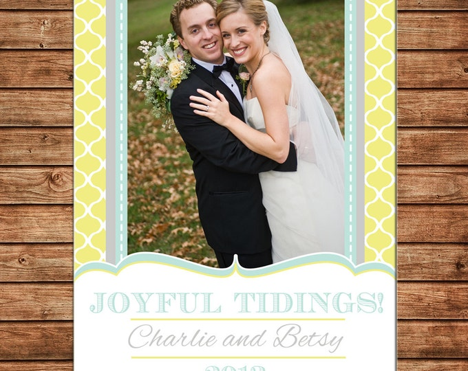 Christmas Holiday Photo Card Grey Yellow Mint - Can Personalize - Printable File or Printed Cards