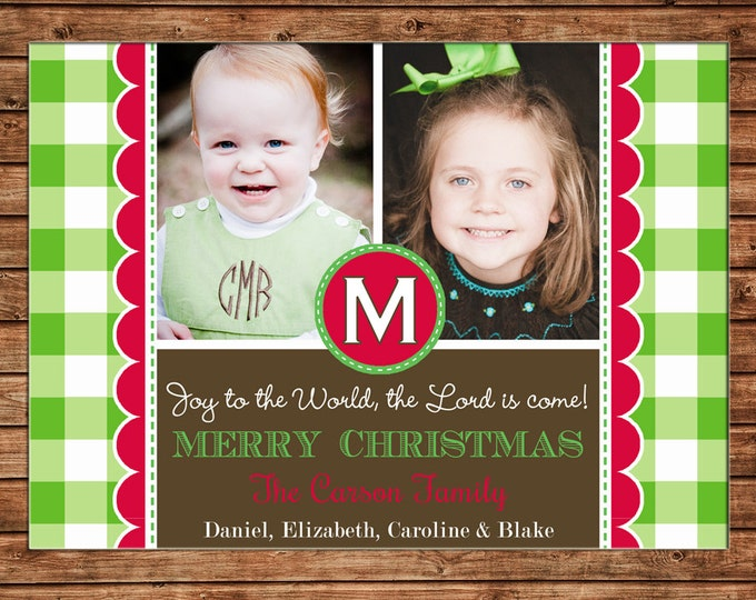 Christmas Holiday Photo Card Green Check Monogram - Can Personalize - Printable File or Printed Cards