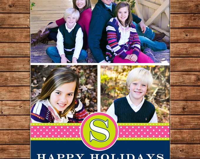 Christmas Holiday Photo Card Pink Lime Navy - Can Personalize - Printable File or Printed Cards
