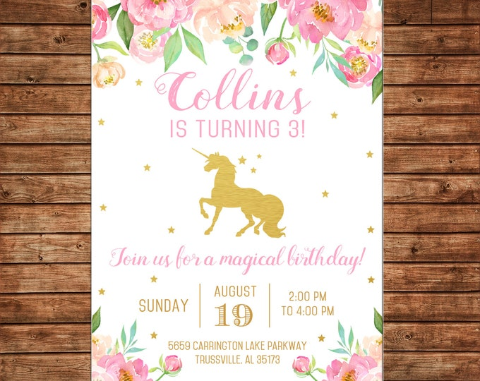 Girl Invitation Watercolor Flowers Gold Unicorn Birthday Party - Can personalize colors /wording - Printable File or Printed Cards