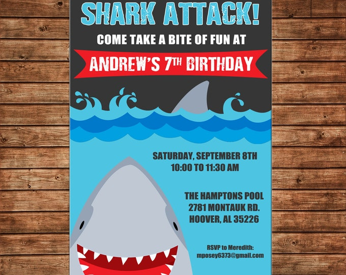 Boy or Girl Invitation Shark Attack Pool Beach Birthday Party - Can personalize colors /wording - Printable File or Printed Cards