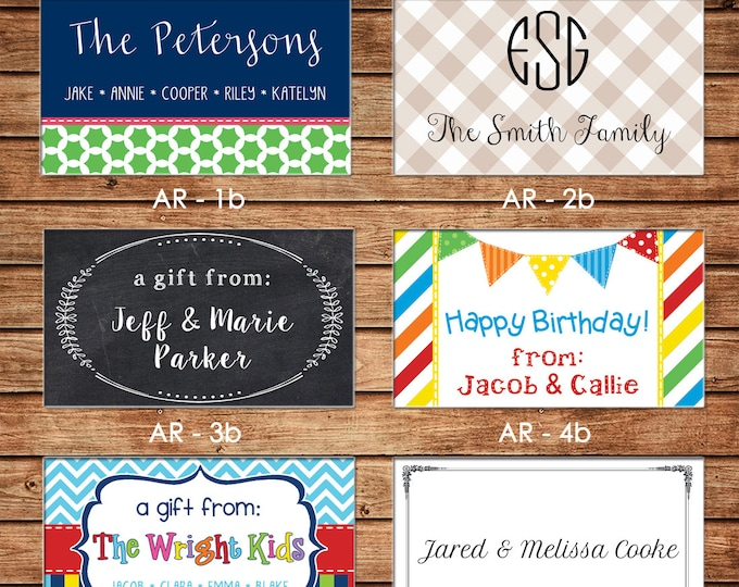 20 Rectangle Personalized Family Sibling Boy Girl Enclosure Cards, Gift Stickers, Gift Tags