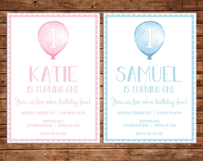 Boy or Girl Invitation Watercolor Balloon Balloons Birthday Party - Can personalize colors /wording - Printable File or Printed Cards