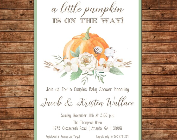 Little Pumpkin Invitation Watercolor Baby Shower - Can personalize colors /wording - Printable File or Printed Cards