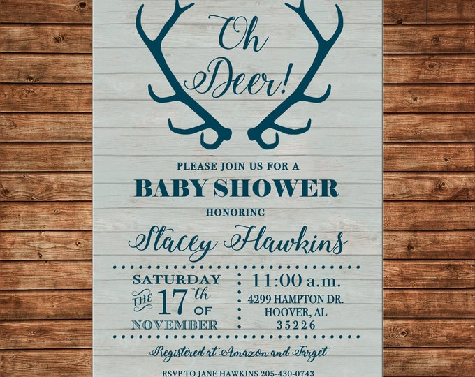 Oh Deer Baby Shower Invitation  - Can personalize colors /wording - Printable File or Printed Cards
