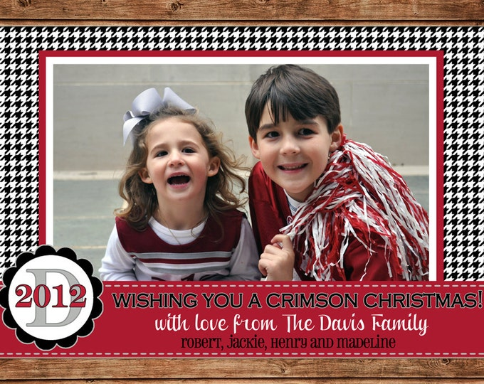 Christmas Holiday Photo Card Bama Crimson Houndstooth - Can Personalize - Printable File or Printed Cards