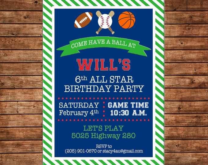 Boy Invitation Sports Football Baseball Basketball Birthday Party - Can personalize colors /wording - Printable File or Printed Cards