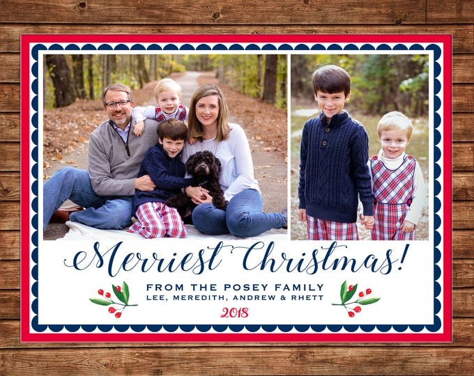 Christmas Holiday Photo Card Navy and Red Watercolor Holly - Can Personalize - Printable File or Printed Cards