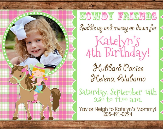 Girl Photo Invitation Horse Cowgirl Pony Birthday Party - Can personalize colors /wording - Printable File or Printed Cards