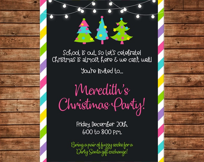 Christmas Invitation Girl Teen Party Birthday - Can personalize colors /wording - Printable File or Printed Cards