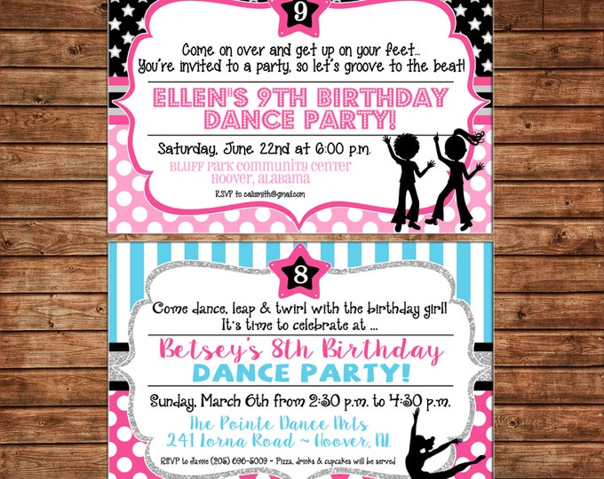 Girl Invitation Dance Party DJ Hip Hop Dancing Birthday Party - Can personalize colors /wording - Printable File or Printed Cards