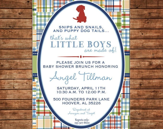 Boy Invitation Madras Plaid Puppy Baby Shower Birthday Party - Can personalize colors /wording - Printable File or Printed Cards