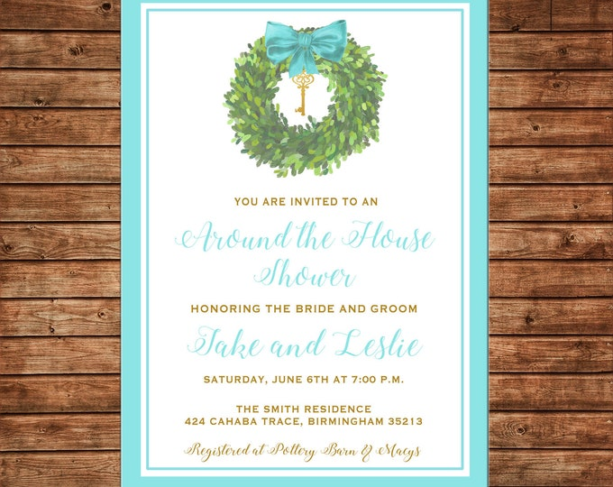 Around the House Wedding Bridal Shower Watercolor Wreath Invitation - Printable File or Printed Cards