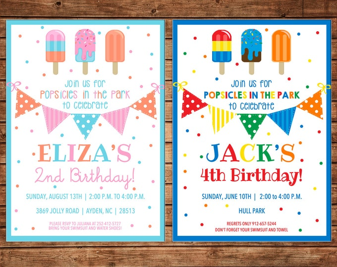 Girl or Boy Invitation Popsicles Ice Cream Truck Birthday Party - Can personalize colors /wording - Printable File or Printed Cards