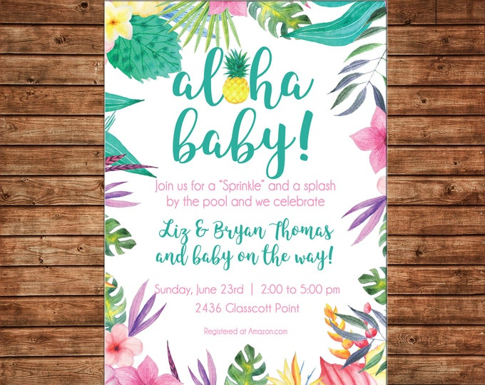 Invitation Watercolor Hawaiian Tropical Aloha Baby Luau Party - Can personalize colors /wording - Printable File or Printed Cards