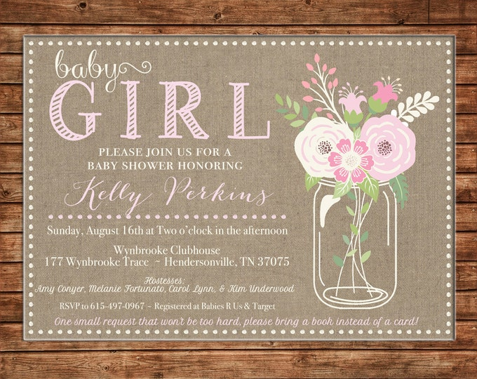 Wedding Baby Shower Invitation Burlap Rustic Mason Jar Floral Party - Can personalize colors /wording - Printable File or Printed Cards