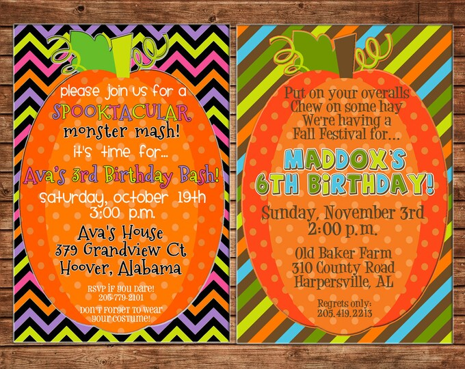Boy or Girl Invitation Pumpkin Patch Halloween Birthday Party - Can personalize colors /wording - Printable File or Printed Cards
