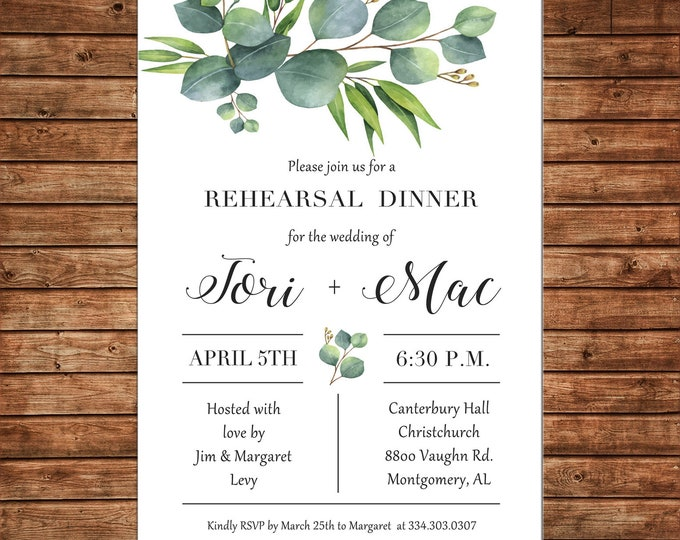 Invitation Watercolor Greenery Rehearsal Dinner Bridal Shower Wedding  - Can personalize colors /wording - Printable File or Printed Cards