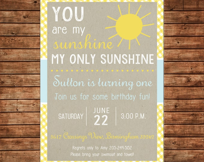Boy or Girl Invitation Sunshine Sun Birthday Party - Can personalize colors /wording - Printable File or Printed Cards