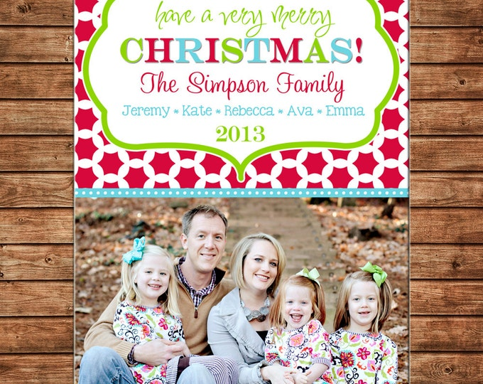 Photo Picture Christmas Holiday Card whimsical preppy clover mod modern print - Digital File