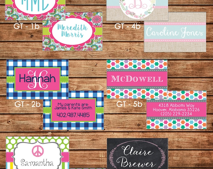 New Designs - Girl Personalized Luggage Bag Tag with Name, Monogram, Clipart, etc - Design your own - ONE DESIGN