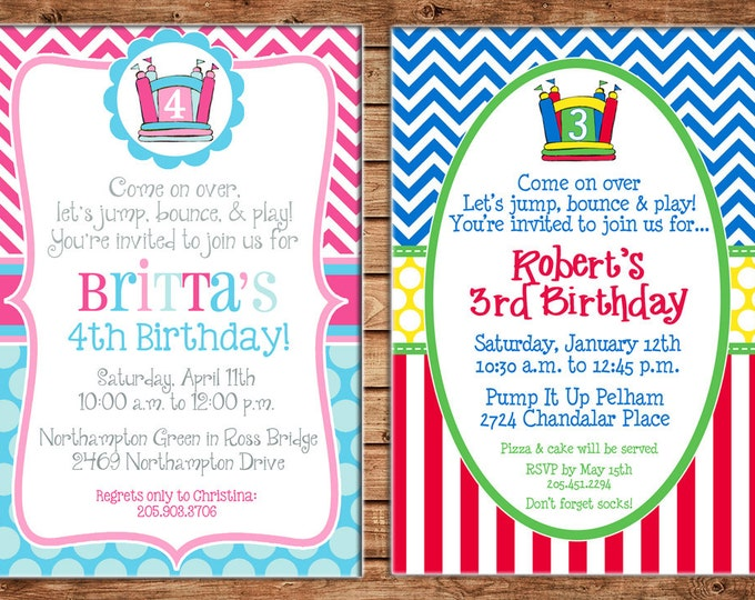 Boy or Girl Invitation Bounce House Inflatable Birthday Party - Can personalize colors /wording - Printable File or Printed Cards