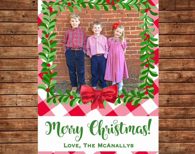 Christmas Holiday Photo Card Buffalo Check Gingham Wreath  - Can Personalize - Printable File or Printed Cards