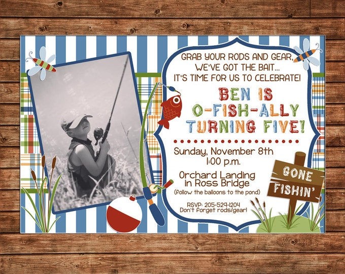 Boy Photo Invitation Madras Fishing Camping Outdoors Birthday Party - Can personalize colors /wording - Printable File or Printed Cards