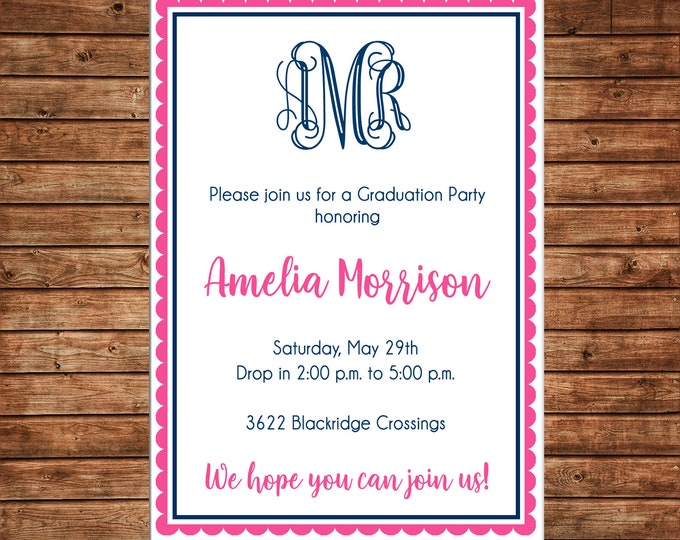 Girl Invitation Monogram Graduation Birthday Party - Can personalize colors /wording - Printable File or Printed Cards