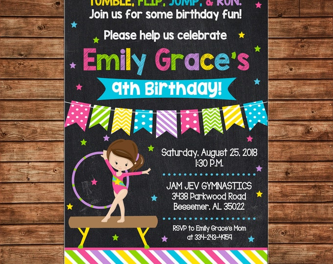 Girl Invitation Gymnastics Tumbling Chalkboard Birthday Party - Can personalize colors /wording - Printable File or Printed Cards