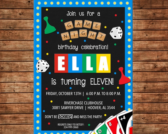 Boy or Girl Invitation Board Game Cards Game Night Birthday Party - Can personalize colors /wording - Printable File or Printed Cards