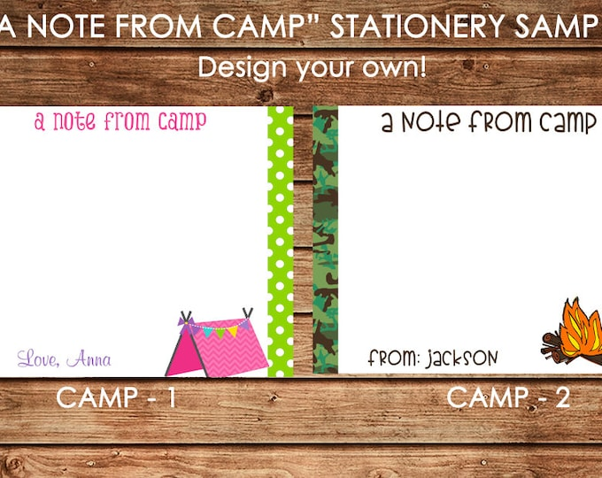 Personalized Boy or Girl Note from Camp Flat Notes Notecards Stationery with Envelopes - Design your own - Choose ONE DESIGN