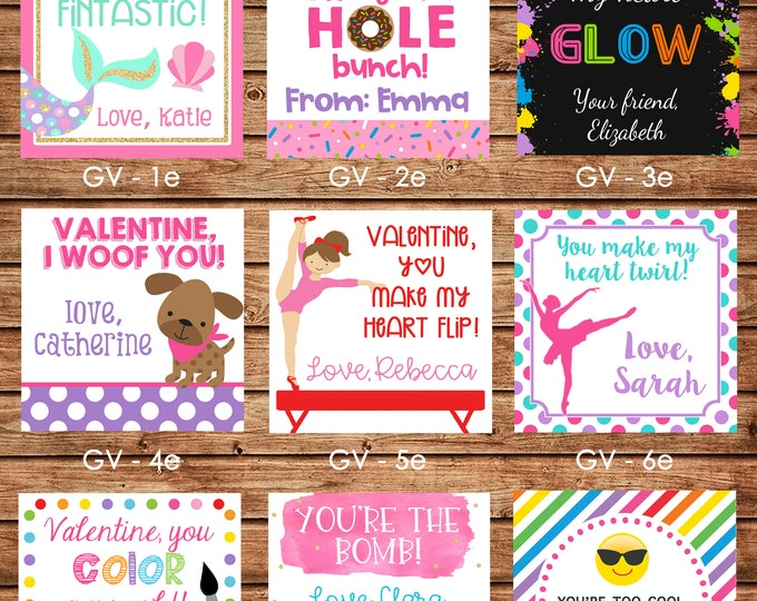 24 Square Girl Valentine Enclosure Cards, Gift Stickers, Gift Tags
