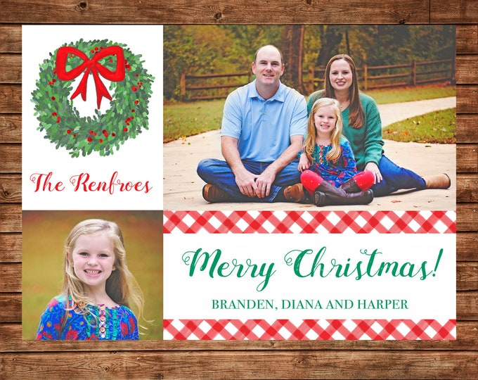Christmas Holiday Photo Card Watercolor Boxwood Wreath - Can Personalize - Printable File or Printed Cards
