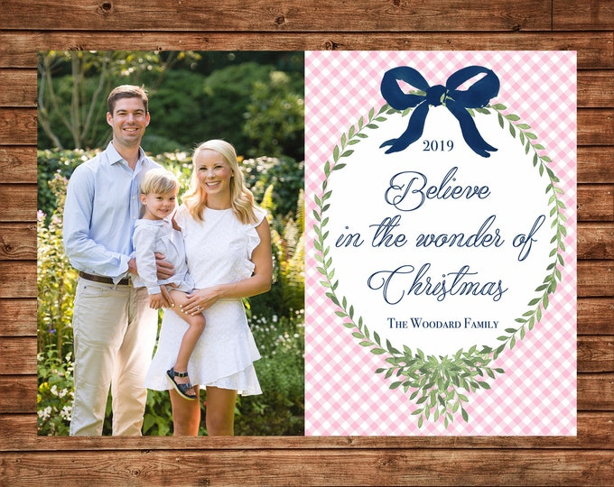 Christmas Holiday Photo Card Pink Gingham Watercolor Wreath - Can Personalize - Printable File