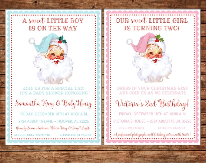 Boy or Girl Invitation Vintage Santa Christmas Birthday Party - Can personalize colors /wording - Printable File or Printed Cards