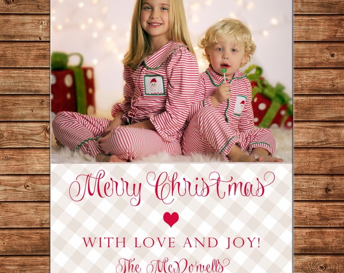 Christmas Holiday Photo Card Neutral Check Red Scallop - Can Personalize - Printable File or Printed Cards
