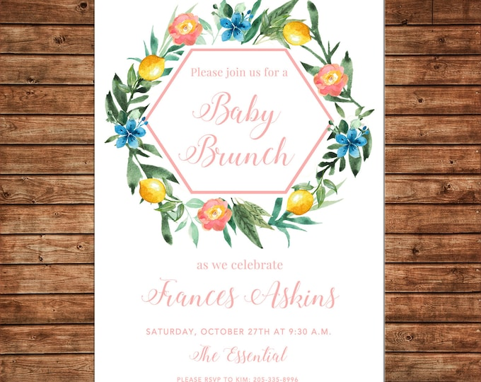 Invitation Watercolor Floral Greenery Brunch Shower  - Can personalize colors /wording - Printable File or Printed Cards