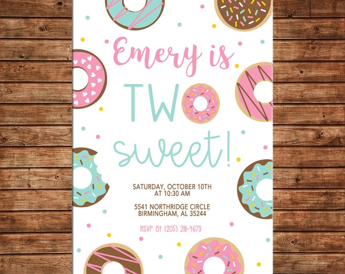 Girl Invitation Donut Donuts Sprinkles Two Sweet Birthday Party - Can personalize colors /wording - Printable File or Printed Cards